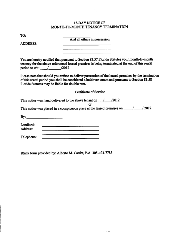 30 day notice template – Copy of an Eviction Notice