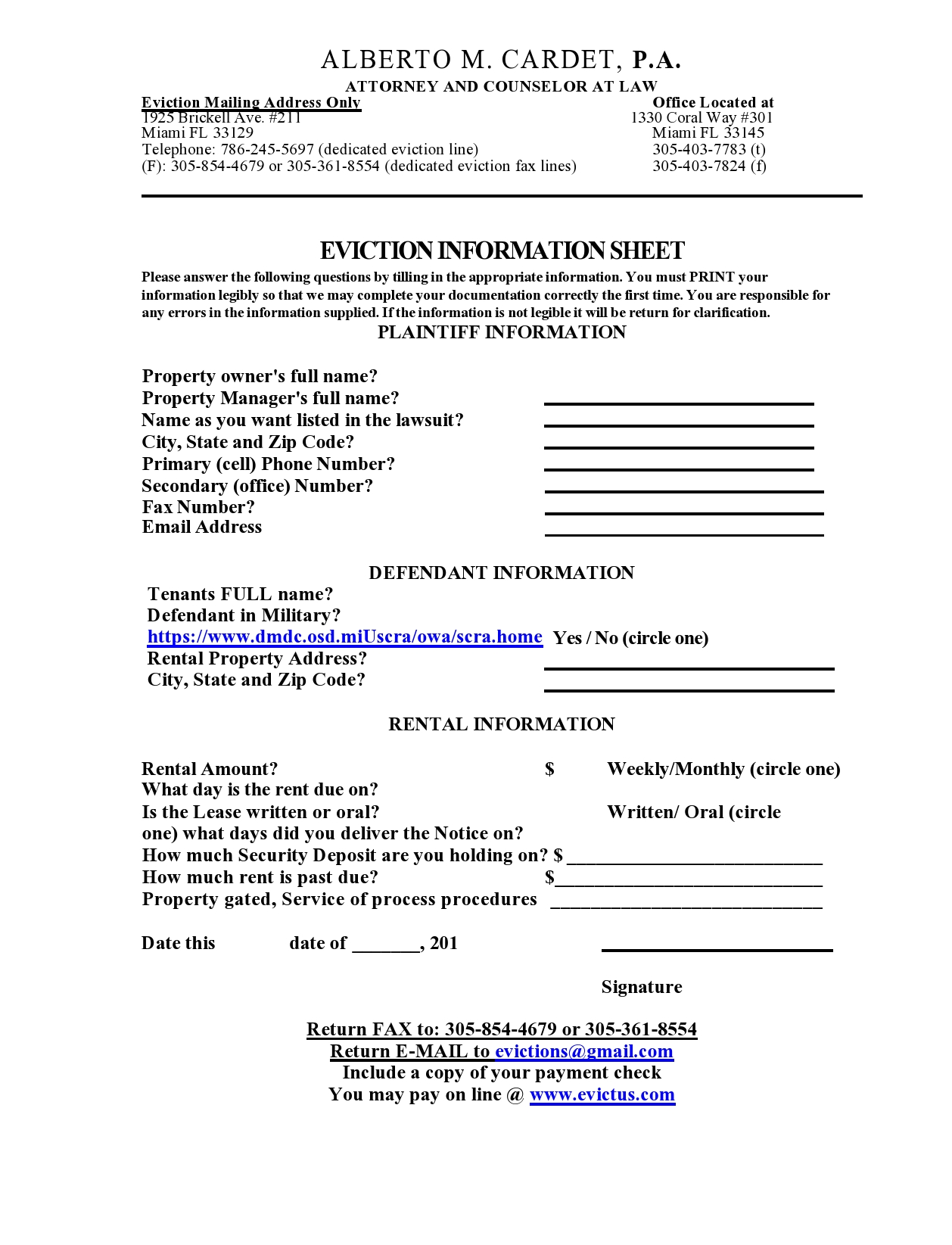 Eviction Information Sheet Representation And Fee Agreement